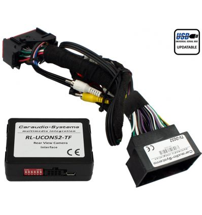 Jeep Uconnect rear-view camera input coding and video-in-motion interface.