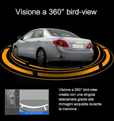 Sistema intelligente di assistenza al parcheggio con visione bird-view a 360° con telecamera singola